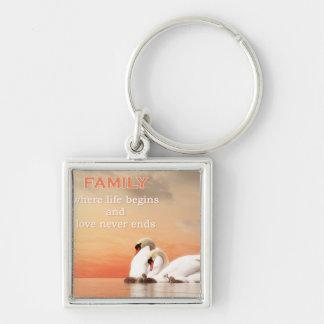 Swan family key ring