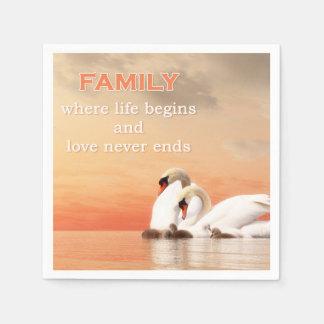Swan family paper napkin
