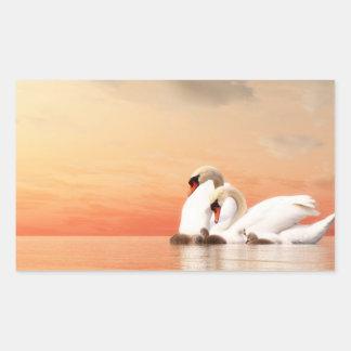 Swan family rectangular sticker