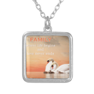 Swan family silver plated necklace