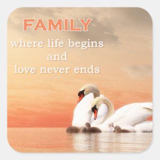 Swan family square sticker