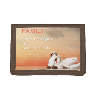Swan family tri-fold wallets
