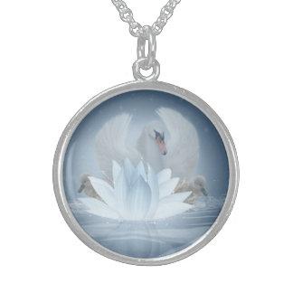 Swan Fantasy Art & Lotus Medium Sterling Silver Round Pendant Necklace