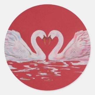 Swan Heart Round Stickers