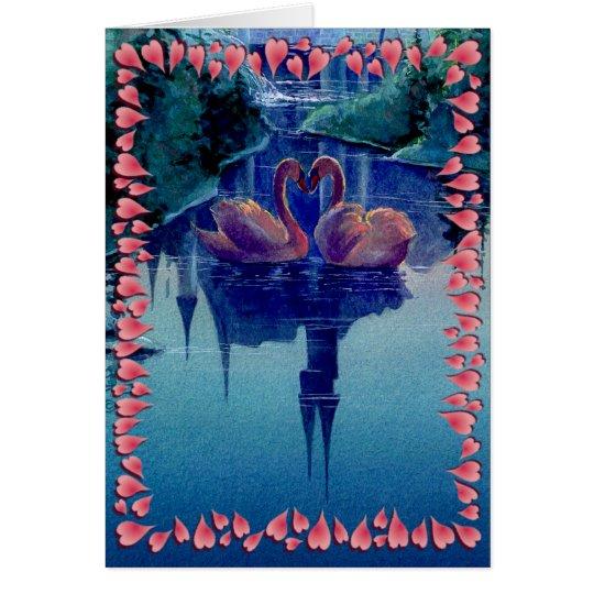SWAN & HEARTS WREATH by SHARON SHARPE Card