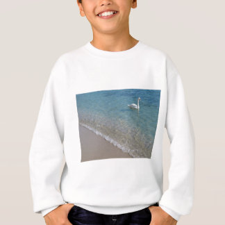 Swan in crystal clear shallow sea water sweatshirt