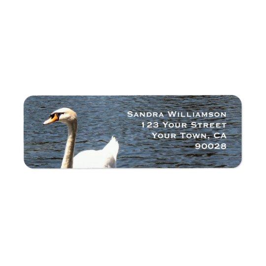 swan in lake return address label