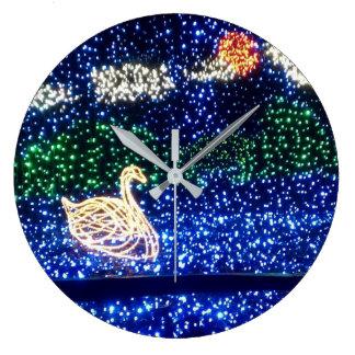 Swan in Lights Wall Clock