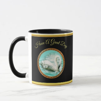 Swan in turquoise water with Gold and black design Mug