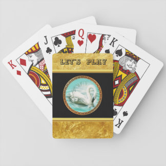 Swan in turquoise water with Gold and black design Playing Cards