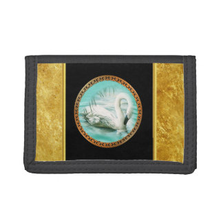 Swan in turquoise water with Gold and black design Tri-fold Wallets