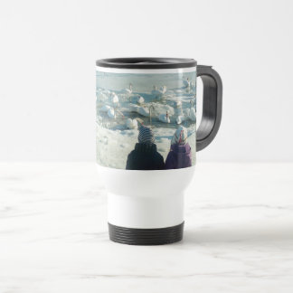 Swan Lake Beautiful Elegant Snow Frozen Winter Travel Mug