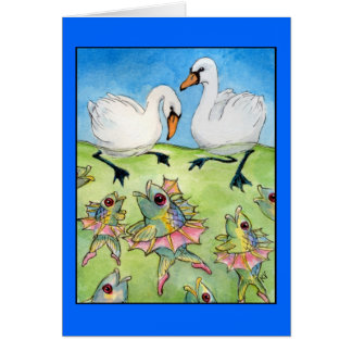 Swan Lake, dancing fish greeting card
