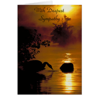 Swan Lake, With Deepest Sympathy Greeting Card