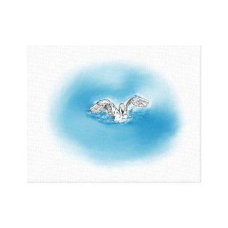 Swan Landing Into Water Canvas Art