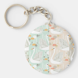 Swan Lily Pond Geo Multi Collage / Andrea Lauren Basic Round Button Key Ring