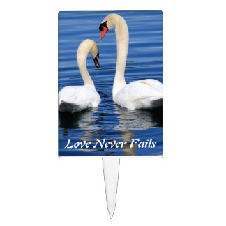 Swan love birds Wedding Cake Topper Pick couples