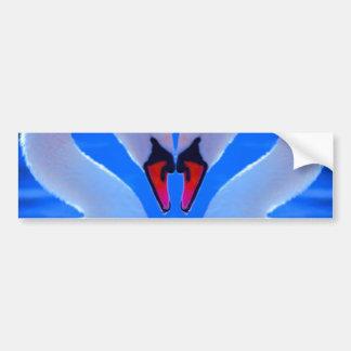 Swan Love, Romantic Heart Shaped Necks Car Bumper Sticker
