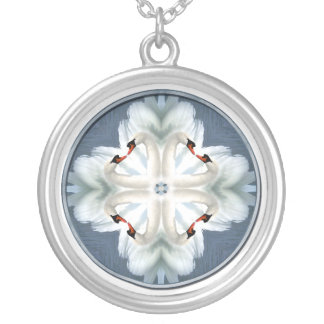 Swan Mandala Silver Plated Necklace