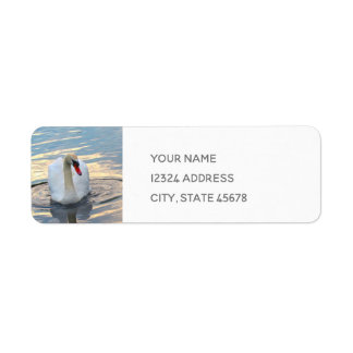 Swan on Blue Water Return Address Label