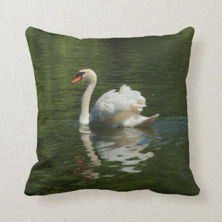 swan on lake throw pillow