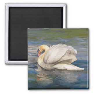 Swan Painting Square Magnet