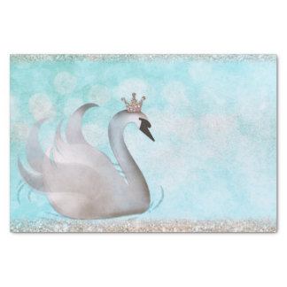 Swan Princess Blue Gold Glitter Sparkle Storybook Tissue Paper
