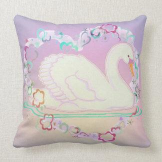 Swan Princess cotton throw pillow