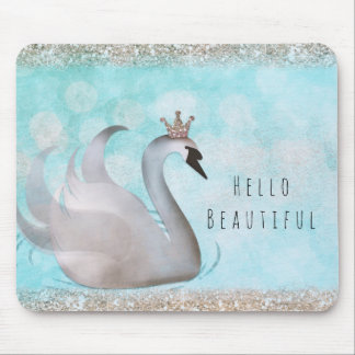 Swan Princess Faux Gold Glitter Chic Fairy Tale Mouse Pad