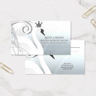 Swan Princess Silver & White Refer a Friend Business Card