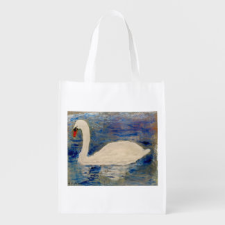Swan Reflections Reusable Grocery Bag