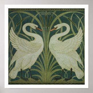 'Swan, Rush and Iris' wallpaper design Poster