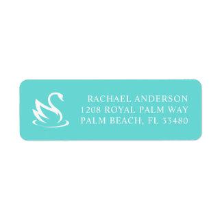 Swan Silhouette on Robin Egg Blue Return Address Label