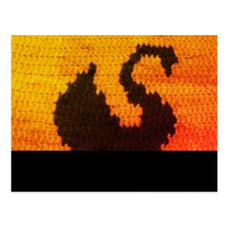 Swan Silhouette Sunset Crochet Printed on Postcard