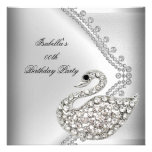 Swan Silver White Elegant Birthday Party Personalized Announcement