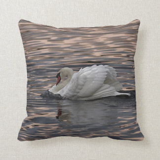Swan Swimming at Sunset Cushion