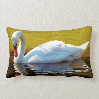 Swan Swimming On Lake In Beautiful Autumn Colors Lumbar Pillow