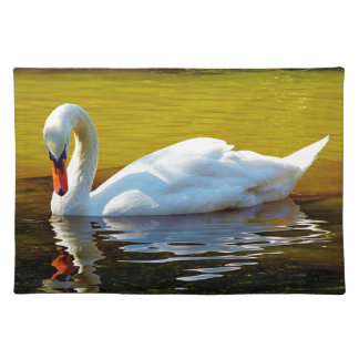 Swan Swimming On Lake In Beautiful Autumn Colors Placemat
