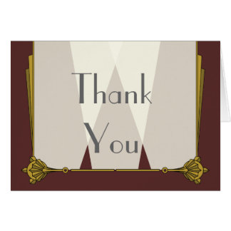 Swanky Art Deco in Red Thank You Card