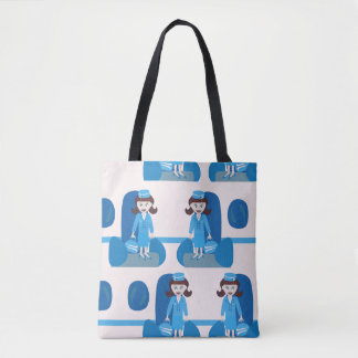 Swanky Blue Sixties Stewardess Tote Bag