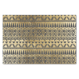 Swanky Faux Gold and Black Hand Drawn Aztec Tissue Paper