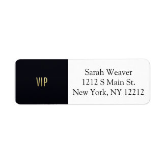 "Swanky Faux Gold Leaf Foil ""VIP"" Typography Return Address Label"