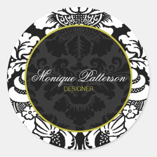 Swanky Sage Black Damask Chic Round Sticker