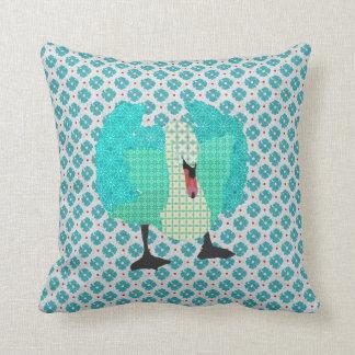 Swanky Swan I Blue Mojo Pillow Throw Cushion