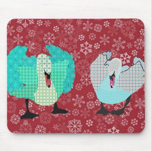 Swanky Swan Red Snowflake Mousepad