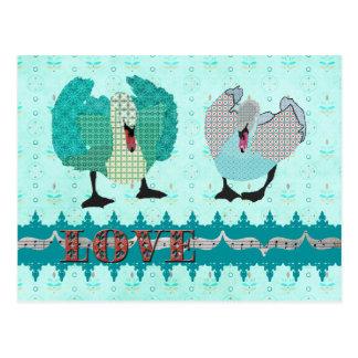 Swanky Swans Blue Love  Postcard