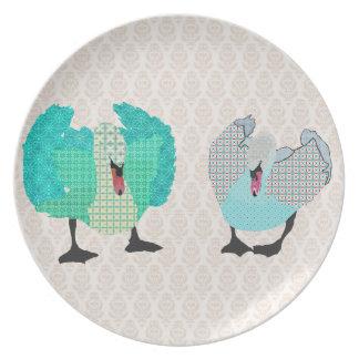 Swanky Swans Damask Plate