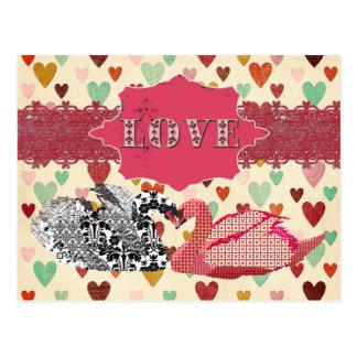 Swanky Swans Love Hearts  Postcard