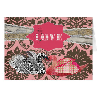 Swanky Swans Love Pink Damask Greeting Cards