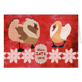 Swanky Swans Love  Valentine Greeting Card